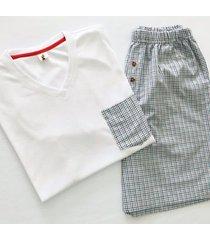 pijama hombre / short y camiseta cuello v / cuadros