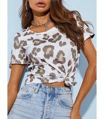 camiseta de manga corta con cuello redondo de leopardo blanco de yoins
