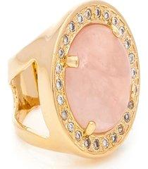 anel kumbayá redondo semijoia banho de ouro 18k pedra natural quartzo rosa e cravaçáo de zircônias - tricae