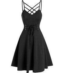 front strappy lace up mini cami dress