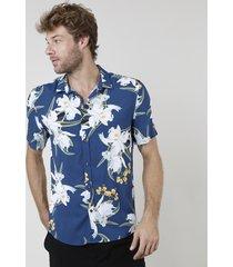 camisa masculina relaxed estampada floral manga curta azul marinho
