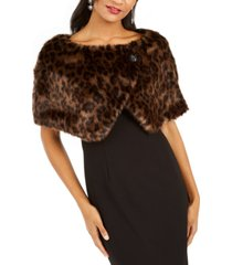 tahari asl leopard-print faux-fur shawl, created for macy's