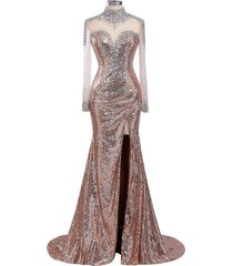 women's champagne sequins prom dress long sleeves, evening dress,party dress