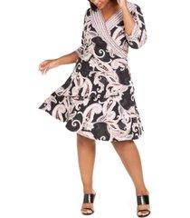 robbie bee plus size paisley-print wrap dress