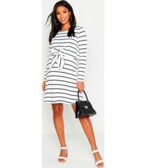 maternity nursing knot front stripe dress, white