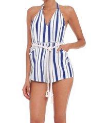blue striped short jumpsuit