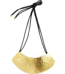 gold geo necklace, women's, cotton, josie natori