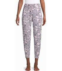 tahari women's relaxed-fit floral joggers - soft pink - size xl