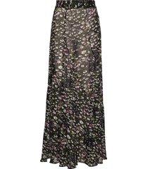 printed georgette lång kjol svart ganni