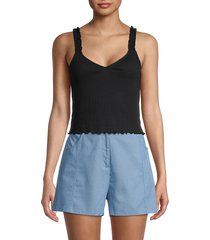 bcbgeneration women's rib-knit cropped tank top - black - size xs