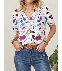 camicetta casual da donna con risvolto a maniche corte con bottoni con stampa geometrica