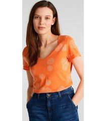 camisa estampado allover naranja esprit