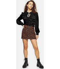 petite leopard print corduroy buckle skirt - multi