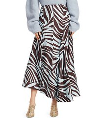 asymmetric snap-button zebra midi skirt