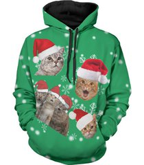 christmas cats print long sleeve hoodie