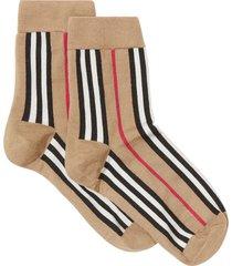 burberry icon stripe intarsia ankle socks - yellow