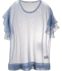 altea ruffled sleeve fine-knit t-shirt - blue