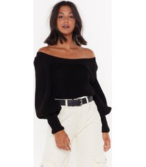 womens off-the-shoulder sweater with balloon sleeves - black