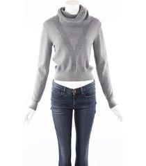 veronica beard jeans zarita gray cashmere cotton sweater gray sz: m