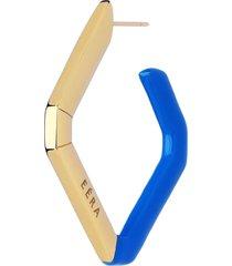 18k yellow gold and blue enamel single allegra earring