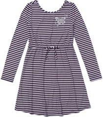 big girls long sleeve waist tie striped dress