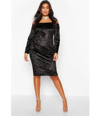 plus bardot crushed velvet midi dress, black