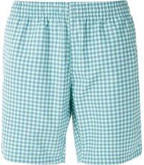 lacoste short de praia xadrez - azul