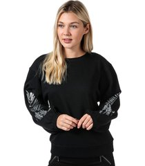 only womens nadia balloon sleeve crew sweatshirt size 10 in black