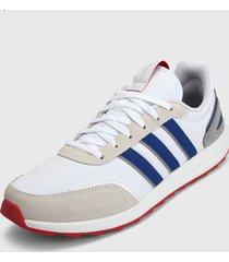tenis lifestyle blanco-gris-azul-rojo adidas performance retrorun