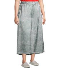 eileen fisher women's plus wide-leg cropped pants - light zinc - size 2x (18-20)