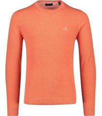 gant trui ronde hals koraal oranje