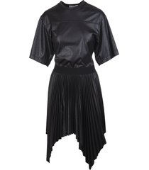 black givenchy lacquered pleated short dress