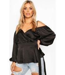 plus satijnen peplum blouse met uitgesneden schouders, zwart