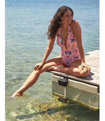 salma soft plunge halter one-piece swimsuit