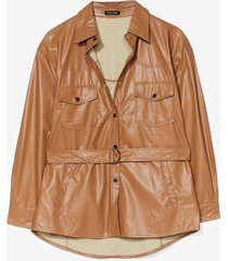 womens we faux leather forget belted shirt jacket - brown