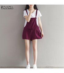 zanzea para mujer sin mangas del zapato con cordones de tiras de peto de los guardapolvos de los pantalones playsuits rojo de vino -rojo