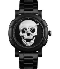 reloj hombre skull 9178  - plata