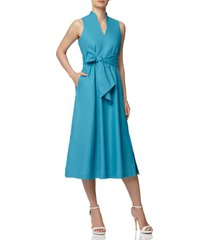 anne klein sleeveless cotton midi dress, size small in calypso blue at nordstrom