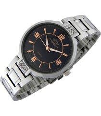 reloj plateado montreal strass gold black