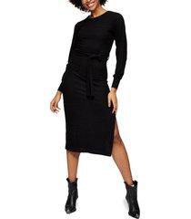 women's topshop long sleeve knit midi dress, size 12 us - black