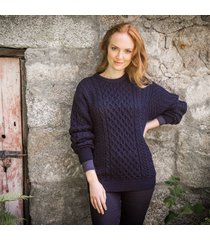 traditional ladies aran sweater light navy m