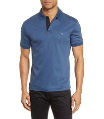 rag & bone interlock slim fit heathered polo shirt, size large in lakeblu at nordstrom