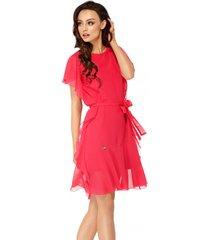 sukienka z szyfonem i falbankami