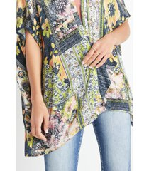 maurices womens gray patchwork floral kimono
