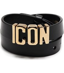 dsquared2 woman black and gold icon leather bracelet