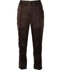 ann demeulemeester crinkled satin trousers - brown
