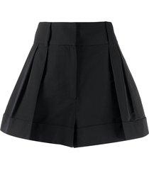 valentino flared pleated short shorts - black