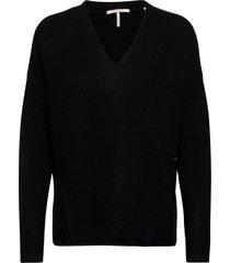 fuzzy v-neck knit with side slits stickad tröja svart scotch & soda