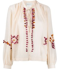 forte forte embroidered tassel-detail blouse - neutrals