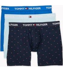 tommy hilfiger men's everyday microfiber boxer brief 3pk sky blue/light blue/navy - s